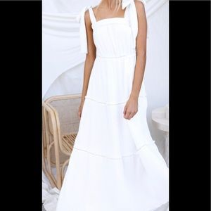 Scout. The label white tiered maxi dress